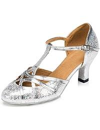 LIXIONG Zapatos de Baile Mujer Lentejuelas Baile Latino Medio talón Fondo Suave de Goma, Altura del talón 6 /...