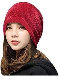 ddab4bc8c0a Editha Women Velvet Elastic Baggy Bonnet Cap Girl Fashion Solid Headgear Hat  Winter Warm Skullies Beanies