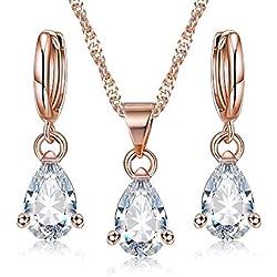 OOMPH Jewellery 18K Rose Gold Plated Teardrop Cubic Zirconia Office-wear Fashion Pendant Set for Women & Girls (PEIS1)