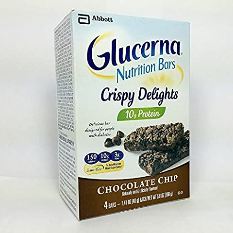 Glucerna, Hunger Smart Snack Bar, Diabetics, Chocolate Chip Crisp - 1 Box of 4 Bars by Glucerna