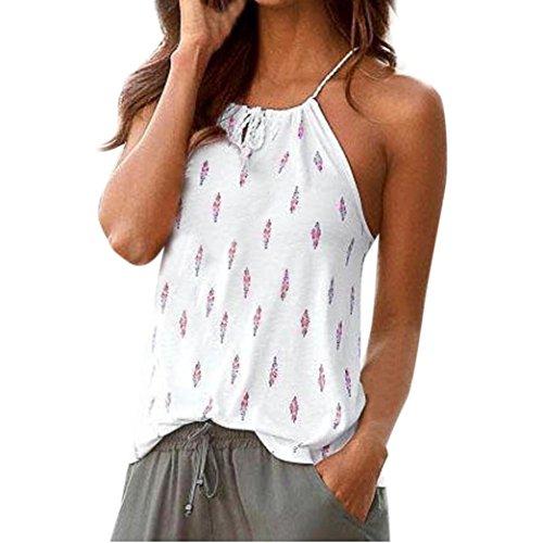 squarex Damen Sommer Blumen Strappy Vest Ärmellos Shirt Bluse Casual Tank Tops, damen, weiß, S