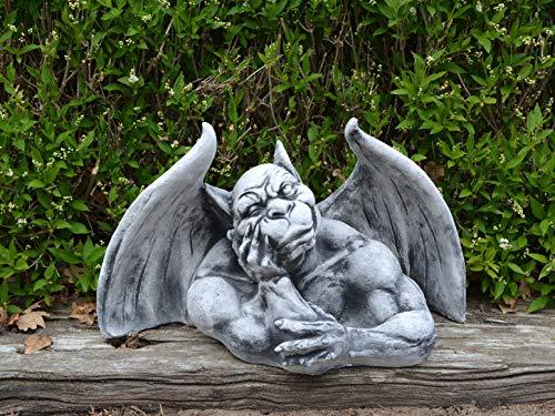 gartendekoparadies.de Große Massive Steinfigur Gargoyle Torwächter Wächter aus Steinguss frostfest