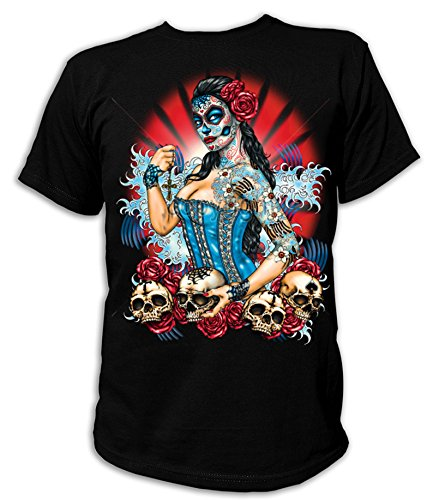 Artdiktat T-Shirt Camiseta para hombre - DAY OF THE DEAD PINUP...