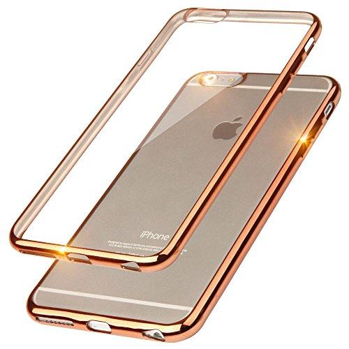 EGO® TPU Silikon Case mit Panzerglas für iPhone 6 Plus und iPhone 6S Plus Bling Schutz Hülle Silikon Tasche Schutzhülle Transparent Glänzend Schale Ultra Dünn SILBER KUPFER ohne GLASS