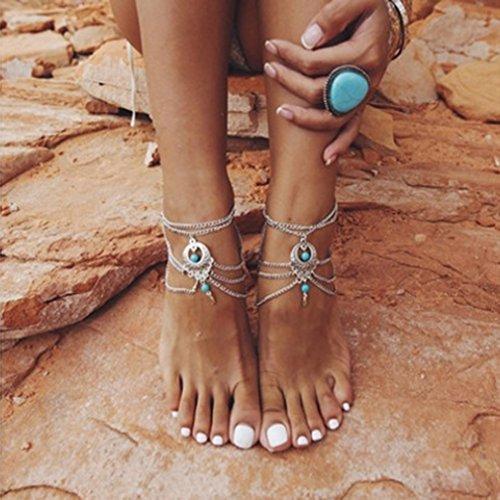 Preisvergleich Produktbild Honel Retro Fußkettchen Vintage Bohemian Strand Schmuck 1 Stück
