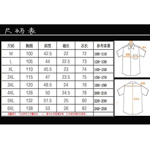 Honghu Uomo Print Pattern Manica Corta Flower Casual Button Down Shirt Camicia Blu