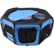 PawHut Fabric Pet Puppy Dog Cat Rabbit Pig Guinea Playpen Play Pen Run L37 x H37cm x D95cm Blue and Black