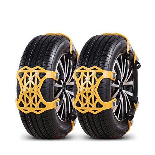 backture cadenas de nieve para coche [2019], 6pcs universales cadenas antideslizantes para neumáticos llantas de 165-275mm, automóvil/suv/camioneta, con guantes y herramientas (pinzas)
