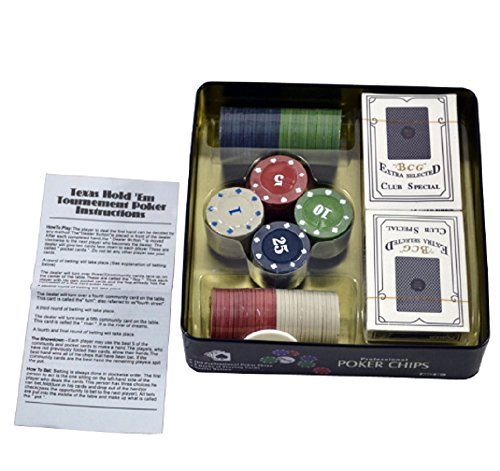 JERN Casino Poker chips with Metal Case (Set with 100 coins with 2 Decks of Playing Cards)  available at amazon for Rs.499