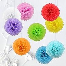 9pezzi da 20cm pon pon di carta velina appesi palle pompoms di fiori festa di nozze doccia di bambino vivaio decorazione, multicolore - rosso / bianco / arancio / giallo / verde / blu / azzurro / viola / rosa