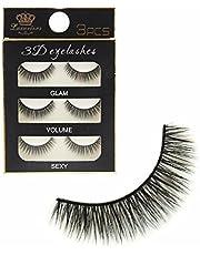DALUCI 3 Pairs Black Handmade Natural 3D Thick Long False Eyelashes