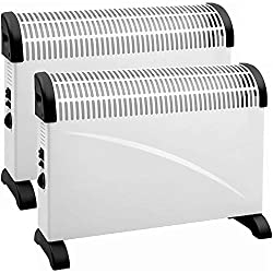 2 X NEW 2000W 2KW THERMOSTAT CONVECTOR HEATER HEATING FAN ADJUSTABLE THERMOSTAT 2PC