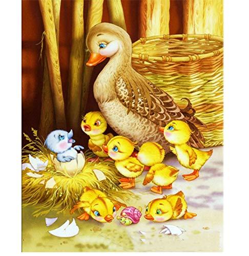 Myytcy Ente Familie Diamant Stickerei mosaik wanddekor DIY s eingefügt Diamant malerei kreuzstich Tier Serie Nadel Geschenke 30x40cm -