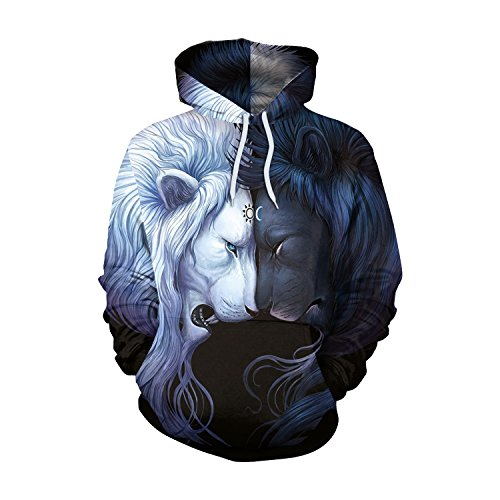 VENI MASEE Unisex 3D Digital Druck Casual Pullover Hoodie Sweatshirt für Liebhaber(M-2XL) Löwe