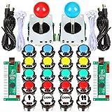 EG STARTS 2 Giocatori Classic Arcade Contest Kit Fai da Te USB Encoder per PC Joystick + Chrome LED Illuminato Pulsante 1 e 2 Giocatori Pulsanti Moneta per Arcade Mame Raspberry Pi 2 3 3B Giochi