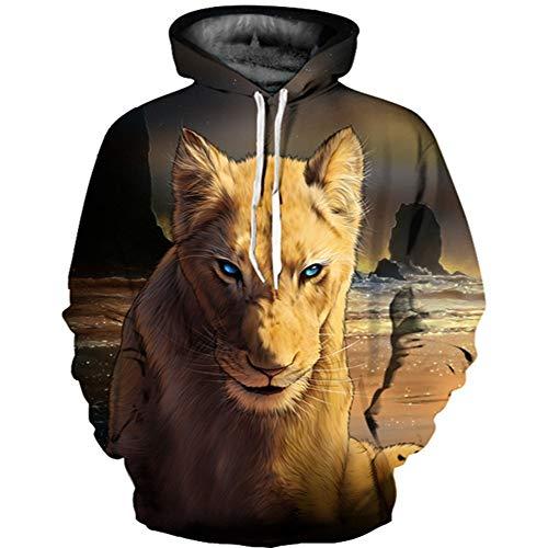 ZXMWY Gepard-Druck-Hip Hop-Lose Kausale Pullover Tier 3D Sweatshirt Hoodies Plus Größe Mäntel Winter, Druck, M