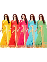 Vashtram Women SuperNet/Cotton Saree with blouse piece (CT0056_Multi-Coloured_Free Size_Pack Of 5)