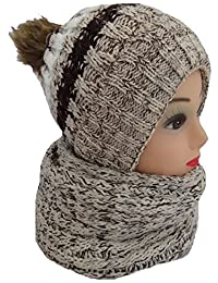 STYLE MIXX Ladies Beanie Hat Scarf Set Womens Stripe Pom Pom Warm Winter Chunky Thick Hat Scarf Neck Wrap XMAS GIFT