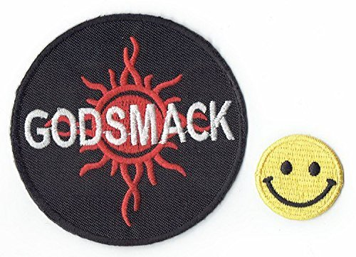GODSMACK : an American rock music band Applique embroidered iron on PATCHES (Wappen, ワッペン , 패치 ) with Yellow Tiny Smiley Patches by PATCH CUBE by Patch Cube