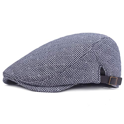 DAZISEN Hut Der Männer - Herren Hut Retro Traditionelle Flache Lässige Tweed Vorwärts Verdicken Einstellbare Winter Herbst Mütze, Blau, One Size -