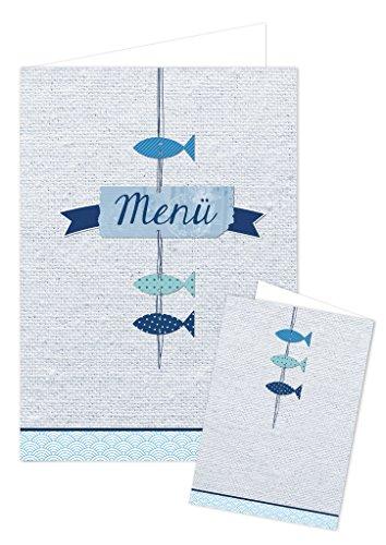 10 Stück Menükarten maritim blau weiß türkis 3 Fische beschreibbar bedruckbar Speisekarten DIN A4 geklappt A5 Tischdeko Hochzeit Kommunion Taufe Geburtstag