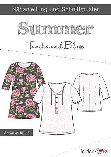 Schnittmuster Fadenkäfer Summer - Damen Tunika & Bluse in den Größen 34 bis 48 Papierschnittmuster (Modal-jersey-kurz)
