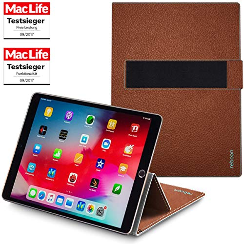 reboon Hülle für Apple iPad Air 2019 Tasche Cover Case Bumper   in Braun Leder   Testsieger (Ipad Air Case Book)