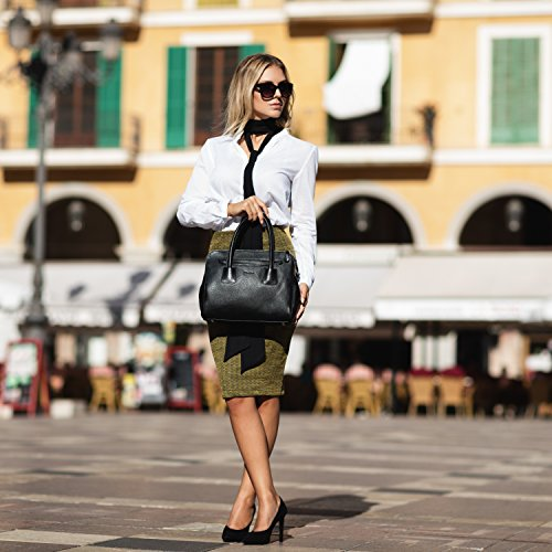 BACCINI Handtasche FIRENZE - Henkeltasche - Damentasche - echt Leder schwarz schwarz