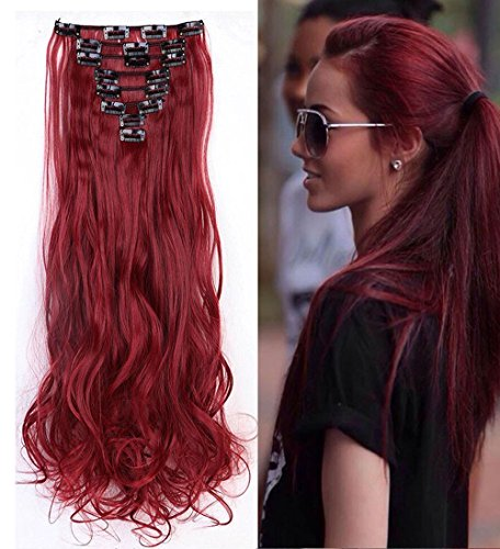 """S-noilite® 24"""" Full-Kopf-Klipp in den Haar-Verlangerungen Ombre Gewellt Gelockt Haarverlängerungen Dip Dye 8Pcs Lang Haare Maroonmischendunkelrot"""