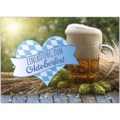 15 Einladungen zum Oktoberfest 2020 / Format DIN A6, 2-seitig/Bier und Herz bayrisch/Einladungs-Karten zum Oktober-Fest mit Umschlägen/Garten Party