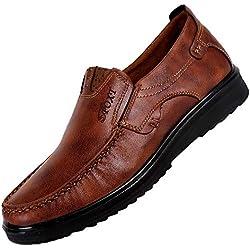 Zapatos de Cuero para Hombre,Mocasines Cómodos Hombre, Adecuado para El Trabajo y el Uso Diario, Zapatos de Cordones Oxford, Conveniente para Todas Las Estaciones