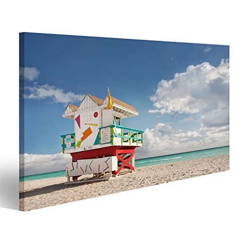 bilderfelix® Miami Beach Florida, Rettungsschwimmer Haus in typisch bunten Art-Deco-Stil an e Wandbild Leinwandbild Poster DCV (Miami Art-deco-poster)