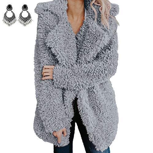 Styledresser Giacche Sportive promozione Cappotto Donna Nero Elegante,Donna Le Signore Caldo Artificiale Lana Cappotto Giacca Risvolto Inverno Cappotti