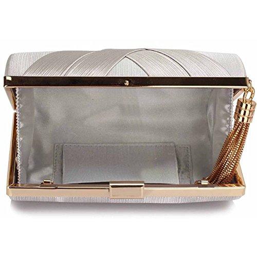 TrendStar Frauen Atemberaubenden Quaste Kupplung Kristall Abend Prom Partei Hochzeit Taschen Damenhandtasche Silber