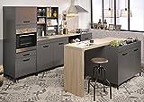 Wohnorama Einbauküche 7-tlg inkl Insel ohne E-Geräte Moove 1 von Parisot Grau/Eiche hell by