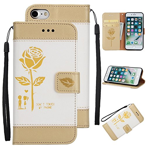 GR Rose Flower Frosted Premium PU Leder Brieftasche Stand Case Cover mit Lanyard & Card Slots für iPhone 7 ( Color : Purple ) White