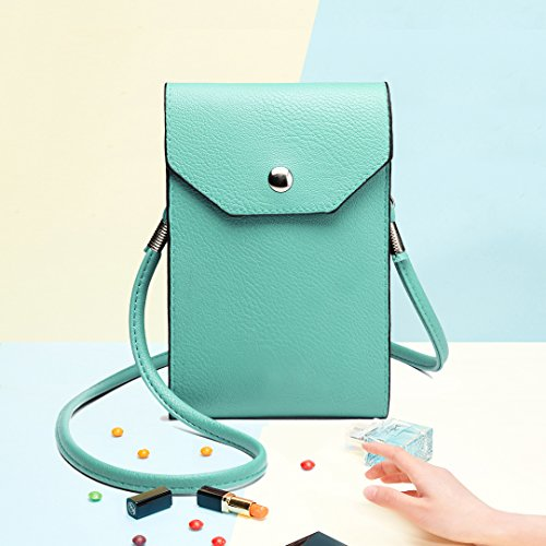 Miss Lulu Mini Schultertasche Handytasche Geldbeutel aus PU Leder Universal Umhängetasche zum Umhängen E1806-Blau1