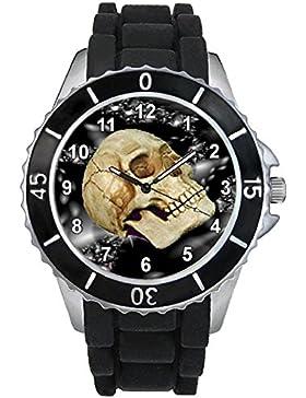 Timest - Skull Totenkopf Damenuhr Herrenuhr - Unisex mit Silikonarmband in schwarz Rund Analog Quarz SE1238