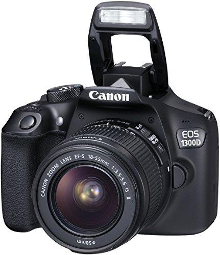 Canon EOS 1300D Reflex Fotocamera Digitale da 18 Megapixel, Wi-Fi, NFC, Nero/Antracite + EF-S IS II Obiettivo 18-55 mm