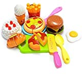 IndusBay Sliceable Cutting Fast Food Kitchen Set Toy With Pizza, Burger, Cake, Omelette, Donuts & More McDonalds Resturant Theme Role Pretend Play Toy For Kids