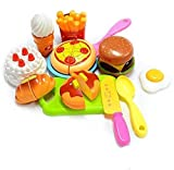 IndusBay Sliceable Cutting Fast Food Kitchen with Pizza, Burger, Cake, Omelette, Donuts and More McDonalds Resturant Theme Role Pretend Play Toy
