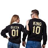 Minetom King Queen Pull Couple Hoodies Paire Impression des King ET Queen Col Rond Manches Longues Amants Pullover pour Femme et Homme Noir (King/Queen) EU M (Homme)