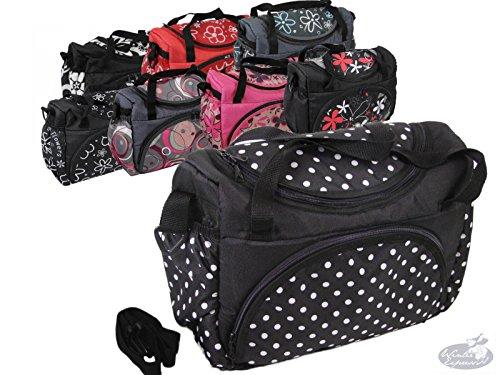 Babys-Dreams Wickeltasche für Kinderwagen Kinderwagentasche ** 8 FARBEN ** + Wickelunterlage (Schwarz kleine weiße Punkte)