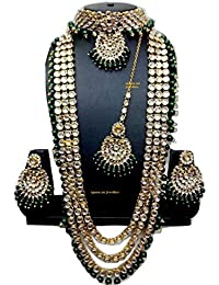 Apsara Art Jewellery Green Copper Alloy Gold Plated Traditional Pearl Kundan Jewellery Set For Girls And Women