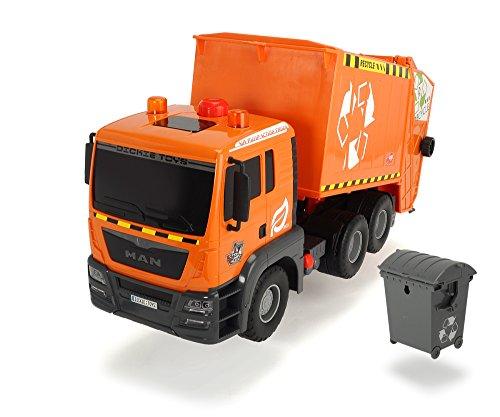 Dickie Toys 203809000 - Air Pump Garbage Truck, Müllabfuhr mit Mülltonne, 55 cm - Müllabfuhr