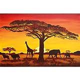 great-art XXL Poster Sonnenuntergang in Afrika - Kinderzimmer Jungen Mädchen Tier Silhouetten Natur Deko Steppe Wanddekoration Wandbild Savanne Motiv (140 x 100 cm)