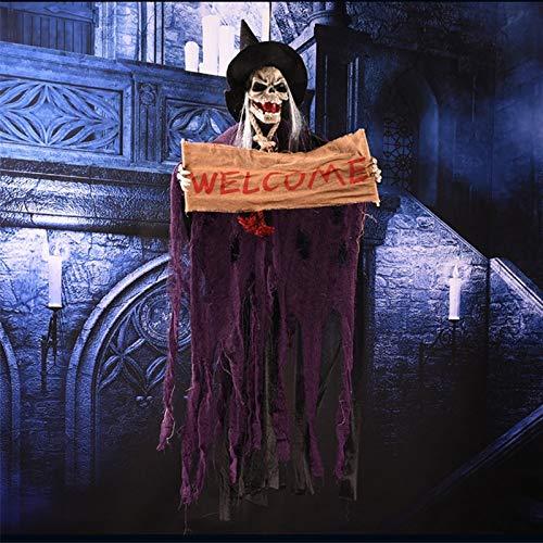 Halloween Hängen Geist Harz Elektrische Schädel Bar Tür Willkommen Halloween Geister Stimme Skeleton Prop Dekoration Halloween Versorgung MFE31