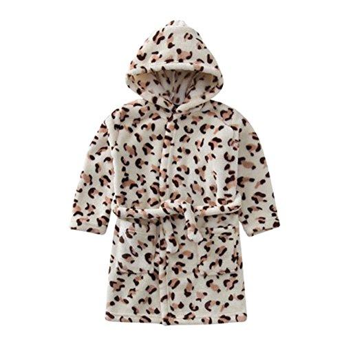 Deylaying Weich Gemütlich Flanell Baumwolle Kapuze Bademantel Kleinkinder Kinder Pyjama Schlafanzüge Kapuze für Mädchen Jungen -