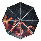 Ieararfre Regenschirm Light Kiss Tri-Fold Regenschirme Winddicht, ergonomischer Griff, Verstärkte Kappe, automatisch öffnen/Schließen Mehrere Farben