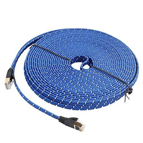 ALLSHOPSTOCK (#24 20 m Gold Plated Cat-7 10 Gigabit Ethernet Ultra Flat Patchkabel für Modem Router LAN Netzwerk, Built with Shielded RJ45 Connector